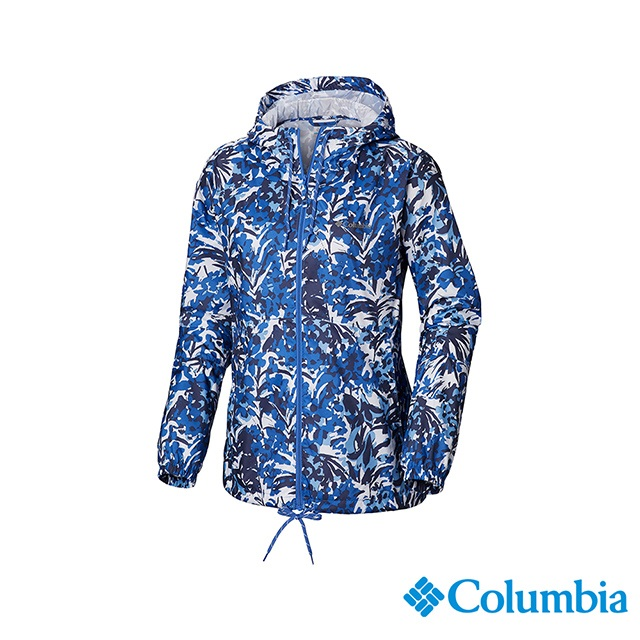 Columbia哥倫比亞 女款-防潑水風衣-藍色花紋 UKR30130TY