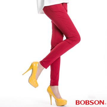 【BOBSON 】女款高腰彩色強彈力緊身褲(紅8088-13)