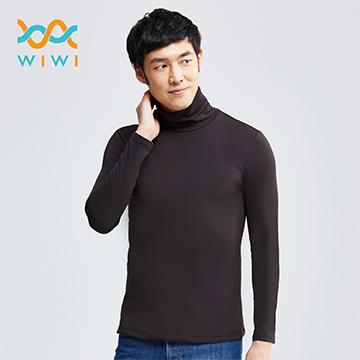【WIWI】MIT溫灸刷毛高領發熱衣(經典黑 男M-XXL)