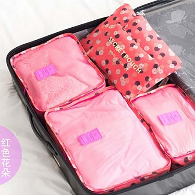 韓版旅行收納包六件組 紅色花朵