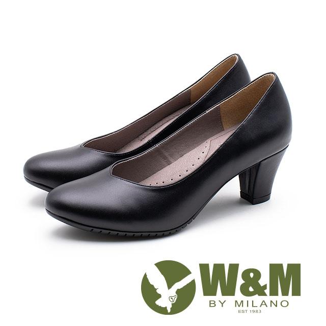 W&M V型氣質舒適粗跟 中跟女鞋-黑