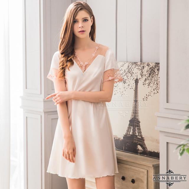 大尺碼Annabery韓版甜美居家風白色短袖連身睡衣