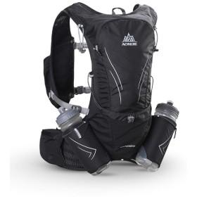 TRIWONDER 15L ハイドレーションバッグ トレイルラン リュック ランニング ベスト マラソン ジョギング用 ザック 給水ボトル付き (ブラック - 2水筒付)
