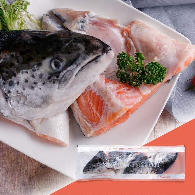 美威鮭魚 冰鮮鮭魚頭半顆(含頸肉)4入裝 x 3包組 (1.6公斤±10%)