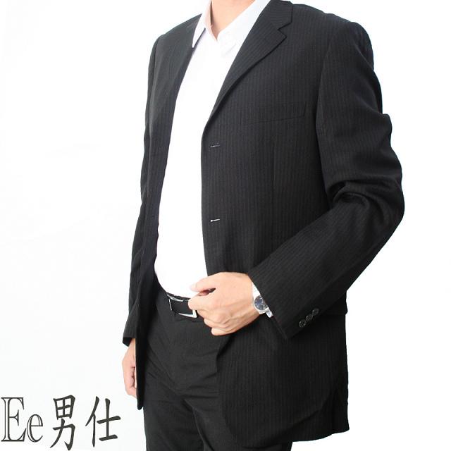 【Ee男仕】V領雙口袋寬雙直紋西裝外套(灰)
