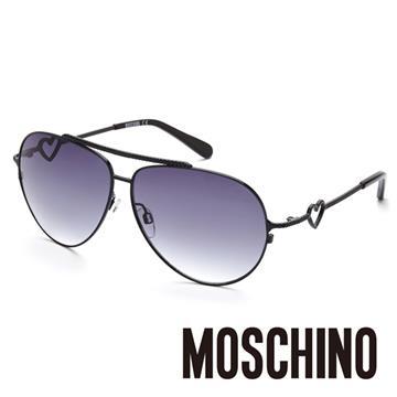 MOSCHINO 義大利設計鎖鍊設計復古飛行員造型太陽眼鏡(黑) MO53801