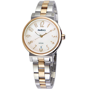 Audrey 歐德利 氣質出眾 時尚珍珠貝女錶(白+雙色/33mm) AUGM5652