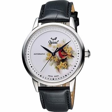Ogival 愛其華 花繪經典彩繪機械腕錶 花卉版 1929-24.7AGS皮