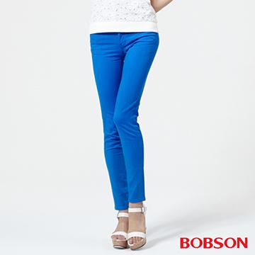 BOBSON 女款低腰膠原蛋白彩色小直筒褲