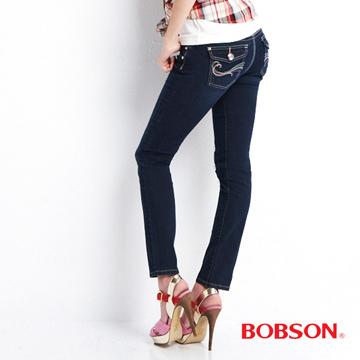 【BOBSON】 女款彩線伸縮小直筒褲(藍8058-53)