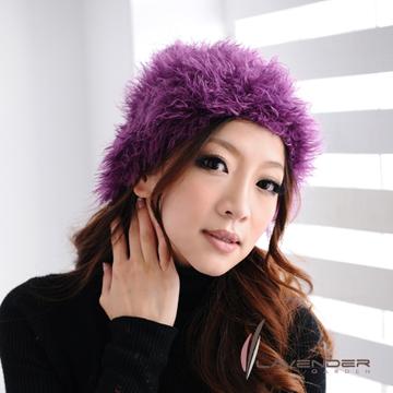 Lavender 多功能帽-紫色(人工貂毛系列)