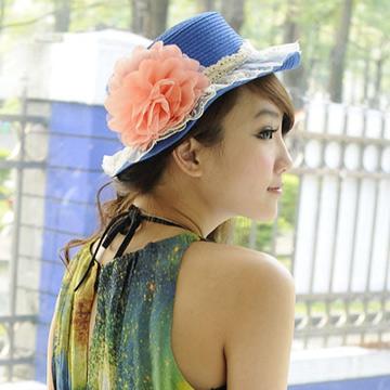 Aimee Toff 精緻紗蕾牡丹春貌遮陽帽(藍)