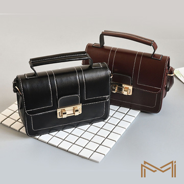 【品樂.MI】韓版鎖扣復古風斜背方包手提包