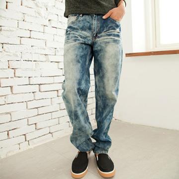 【MAKER NET】經典藍波紋刷白牛仔褲