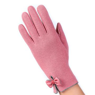 【幸福揚邑】防風加絨觸控騎車開車保暖棉手套-時尚蝴蝶-粉色