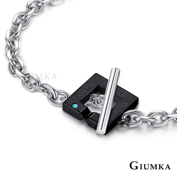 GIUMKA 命中注定T字扣手鍊 黑色寬版 MH06051-2M