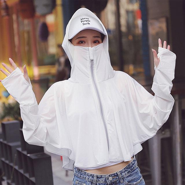 全方位冰絲防曬衣外套(短款)-白色