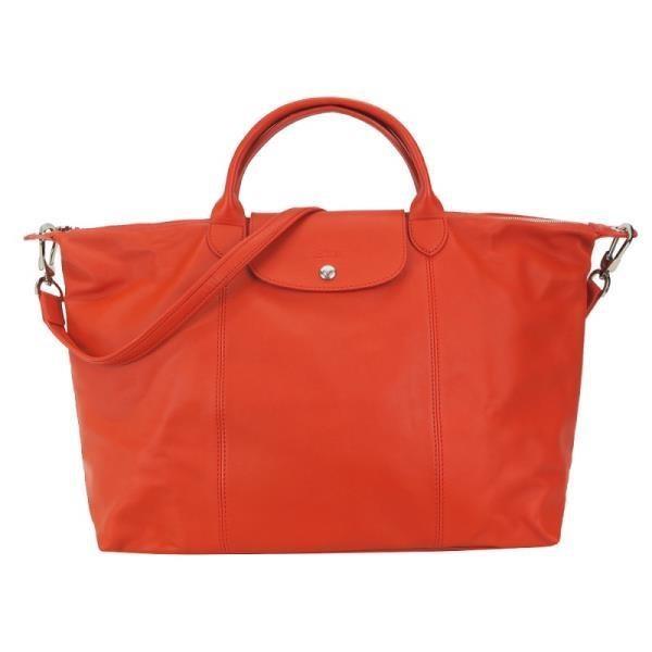LONGCHAMP Le Pliage Cuir 系列小羊皮短把折疊水餃旅行袋(大/藏紅花)