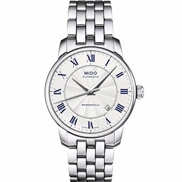 MIDO 美度 Baroncelli II 羅馬假期機械腕錶 銀 38mm M86004211
