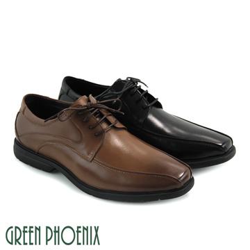 GREEN PHOENIX 波兒德 流線剪裁渲染綁帶全真皮輕量平底皮鞋 男鞋 T63-18920