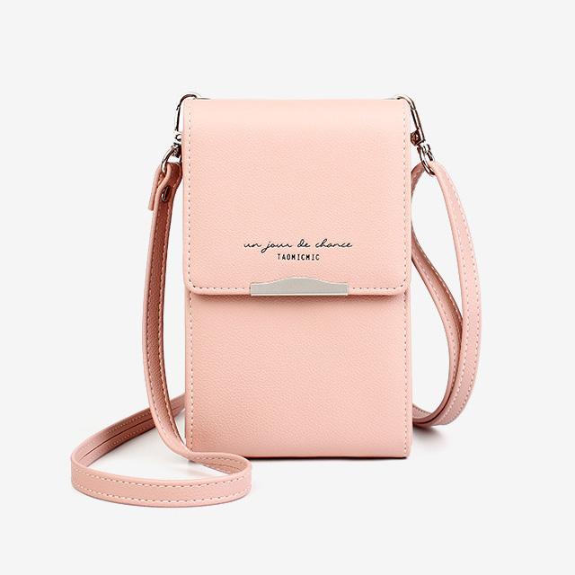 韓版女士皮革斜跨單肩手機錢包-粉色(贈環保飲料杯套)