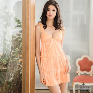 大尺碼Annabery甜蜜粉橘蕾絲肩帶蛋糕裙襬柔緞睡衣