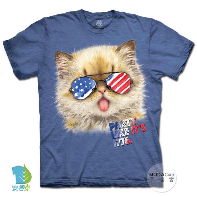 摩達客-預購-美國進口The Mountain 派對貓1776 純棉環保藝術中性短袖T恤