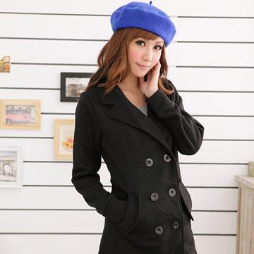 [S-7L熊衣褲語]J87營造自信時尚.雙排釦西裝領收腰外套/大衣(黑、紫S-2L)
