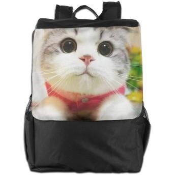 Jinfeazge 猫 かわいい 丸い目 リュック ビジネスリュック 大容量 登山 バックパック 旅行バッグ 通勤 通学 男女兼用