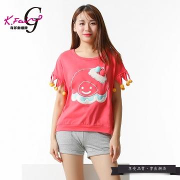 KFAIR·GIRL奇菲爾潮牌甜美可愛卡通印花毛球全棉T恤W092420863(51)