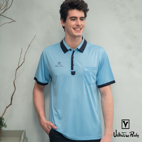 Valentino Rudy 范倫鐵諾.路迪 吸濕透氣涼爽機能Polo衫 湖藍深藍領