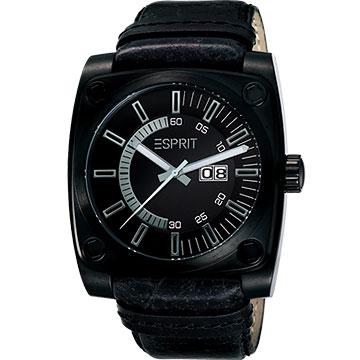 【ESPRIT】黑暗王子皮帶腕錶(ER100371002)-黑