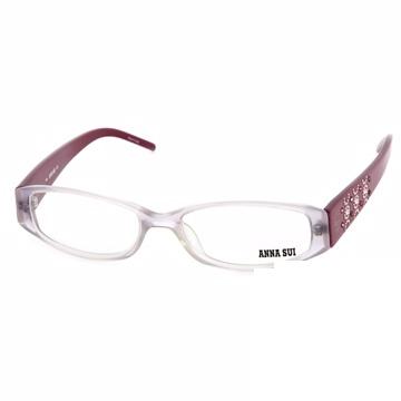 Anna Sui 日本安娜蘇 時尚粉鑽幾何造型平光眼鏡(酒紅) AS10203