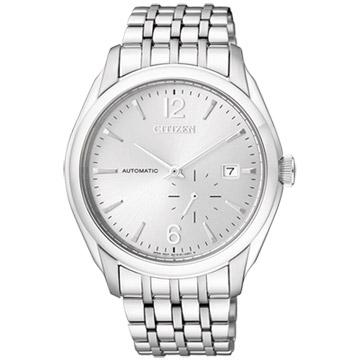CITIZEN NP系列 卓越工藝都會機械腕錶(鋼帶-銀)
