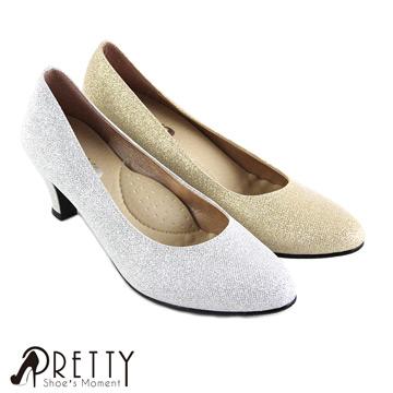 【Pretty】閃耀金蔥中跟尖頭鞋BA-29952