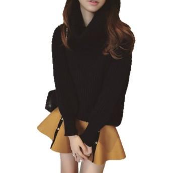 【SEBLES】レディース トップス ニット セーター タートルネック 暖か ゆったり リブ 長袖 ブラック フリーサイズ