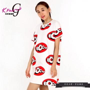 KFAIR·GIRL奇菲爾潮牌時尚百搭印花短袖圓領T恤W030510863(黑色)