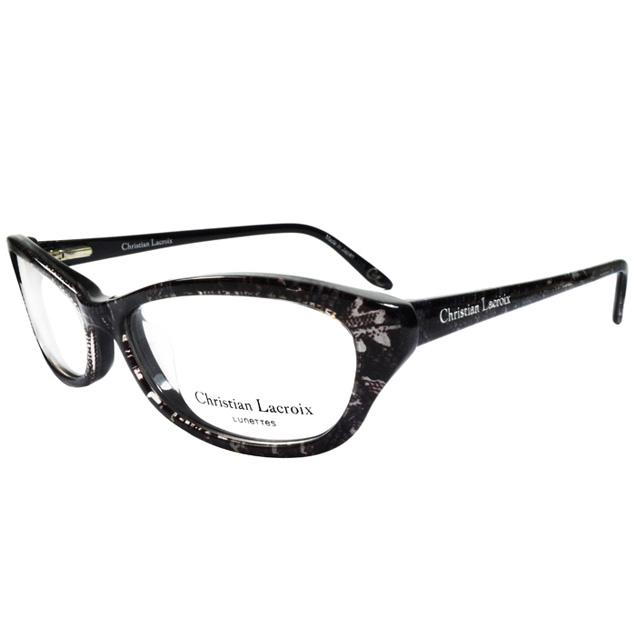 Christian Lacroix 典雅蛇皮紋風格眼鏡 黑色 CL1019-062
