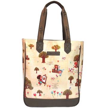 【摩達客】香港設計品牌手繪童話插畫風HosannArt大眼妹春遊長托特包單肩包側背包
