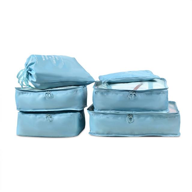 PUSH!旅遊用品旅行收納袋行李箱衣物整理收納包袋套裝(6件套雅緻型)藍色S55-1