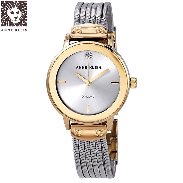 Anne Klein 維也納圓舞曲鑽眼腕錶-銀x30mm(AK-3221SVTT)