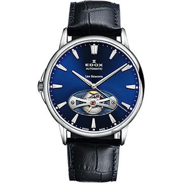 EDOX Les Bemonts Open Vision 薄曼系列機械腕錶-藍x黑 E85021.3.BUIN