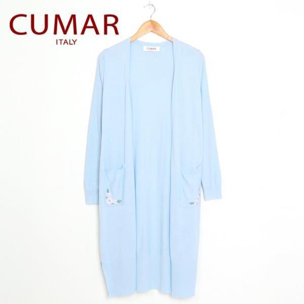 【CUMAR】口袋繡花設計長板罩衫(淺藍色)