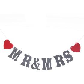 【MR&MRS】人気 結婚式 パーティー 撮影用 小物 カード バナー 撮影用 装飾 ロマンチック 壁飾り