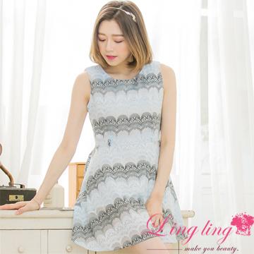 lingling中大尺碼 A3393-01優雅歐妮韓版扇型蕾絲紗背心洋裝(溫柔藍)