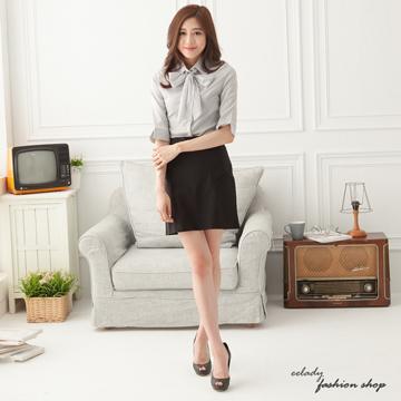 【EE-LADY】清新條紋附領巾七分袖襯衫(灰)