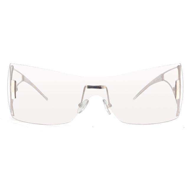 Gianfranco Ferré 義大利 一片式前衛造型鏡腳太陽眼鏡 / 銀GF57601