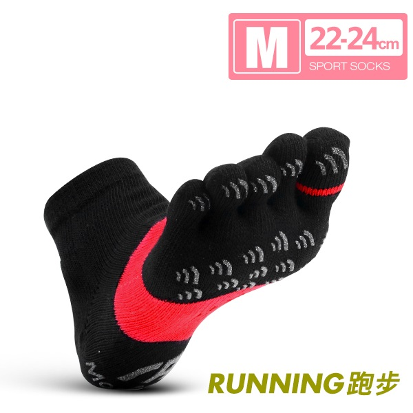 FootSpa-透氣升級三角運動五趾襪(22~24cm)M黑紅