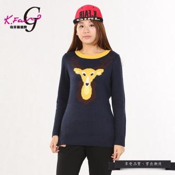 KFAIR·GIRL奇菲爾潮牌時尚卡通圓領修身針織套頭衫W201342463(黑藍)