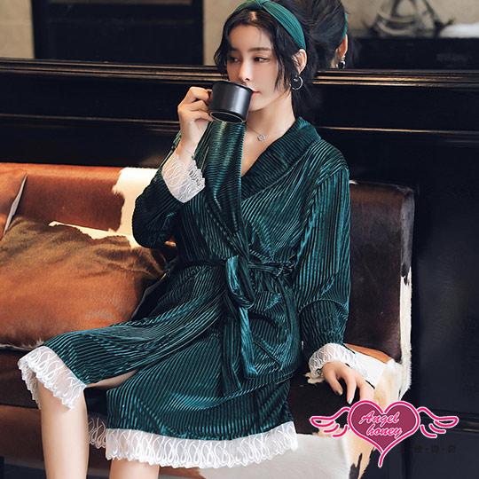 保暖睡袍 優雅夜晚 條紋一件式綁帶睡衣(綠F) AngelHoney天使霓裳